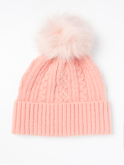 Strikhue med fake fur pom pom