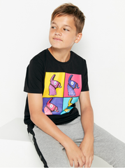 Sort t-shirt med Fortnite print