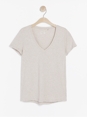 Beige v-neck top