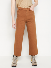 HANNA Wide high waist jeans med cropped leg