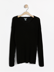 Ribsticket sweater i linned blanding