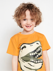Orange t-shirt med dinosaur print