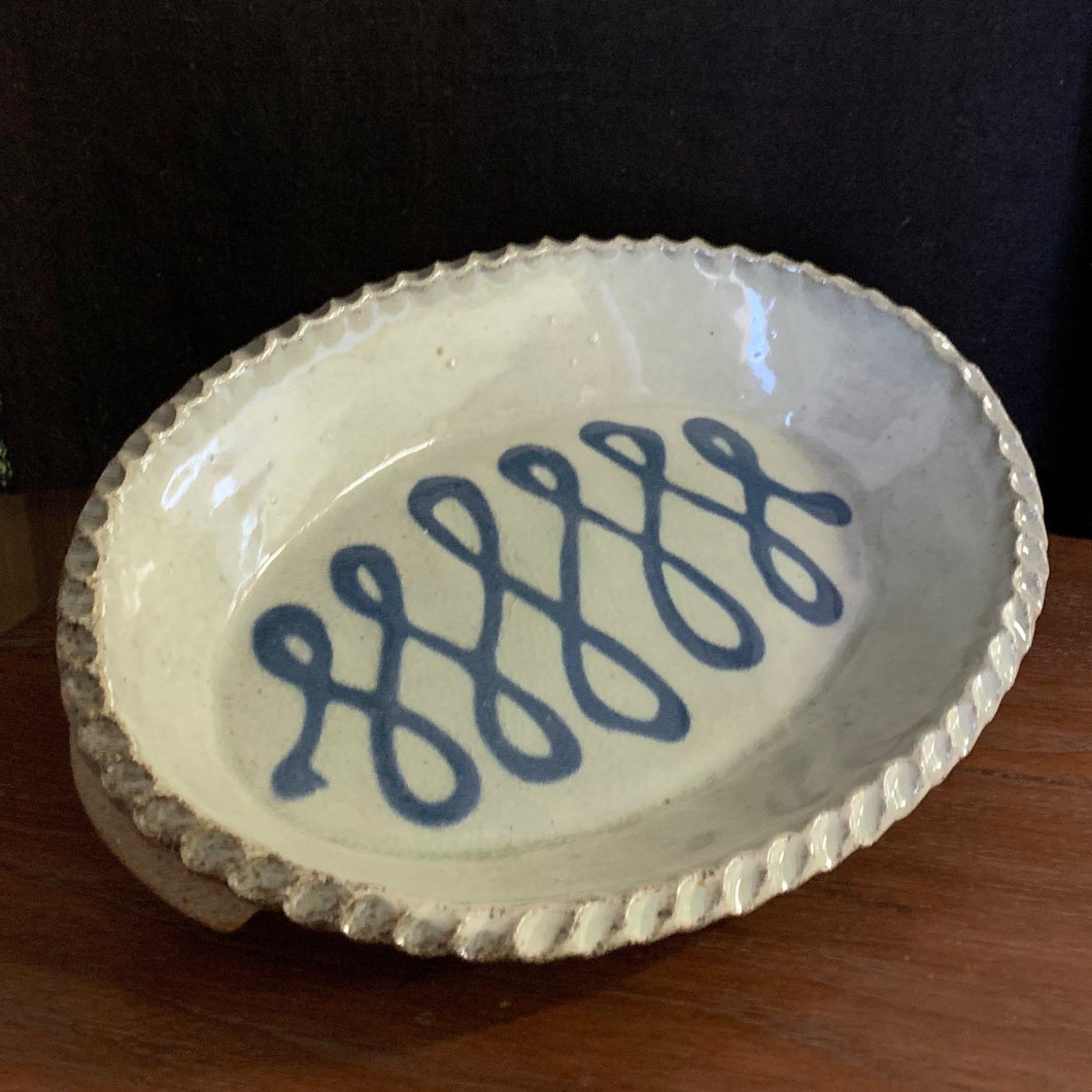Blue and White Oval Casserole