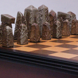 Soda Fired Chess Set with Pick-up Stick Relief