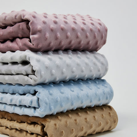Reinfoeced minky dot baby blanket in Nougat, Feather grey, Skye blue and mustard coloured.