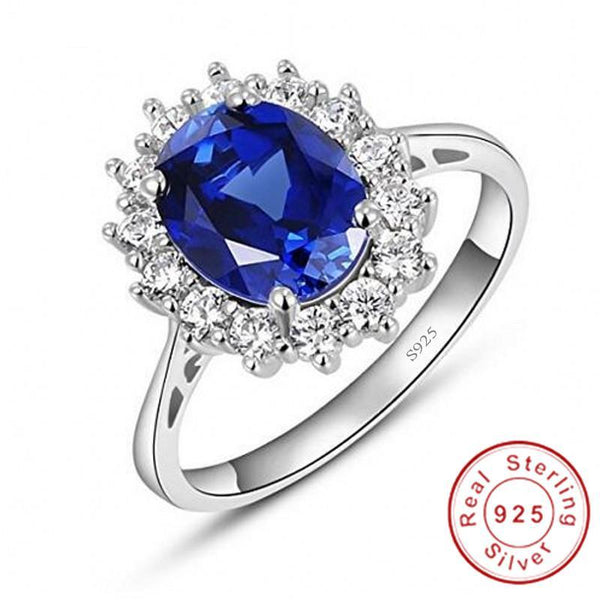 925 Sterling Silver ring 5A Blue Zircon Cz Diana Engagement Wedding Fine Jewelry Ring for Women/Bridal