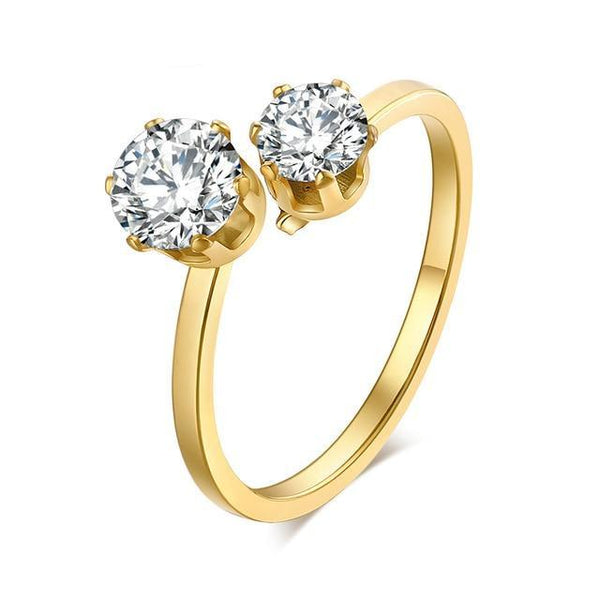 Top Quality Titanium Stainless Steel Gold Plated Rings For Women  Wedding Ring Double Cubic Zirconia Fashion Jewelry