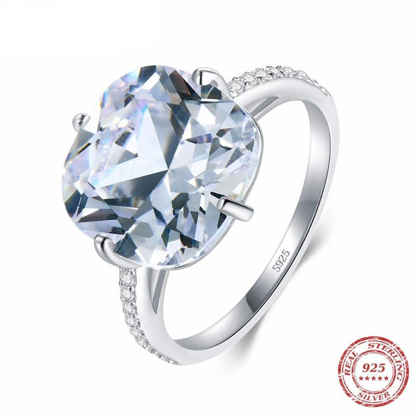 925 Sterling Silver Clear Cushion Cut Top Quality 5A Cubic Zirconia Dazzling Engagement Ring
