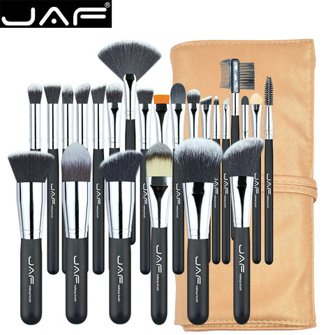 JAF 24 Piece Professional Makeup Brush Set With Leatherette Tie Bag