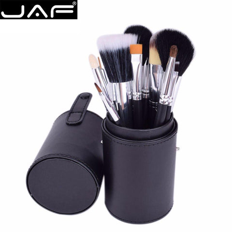 JAF 12 Piece Professional Makeup Brushes Kit with Leather Holder