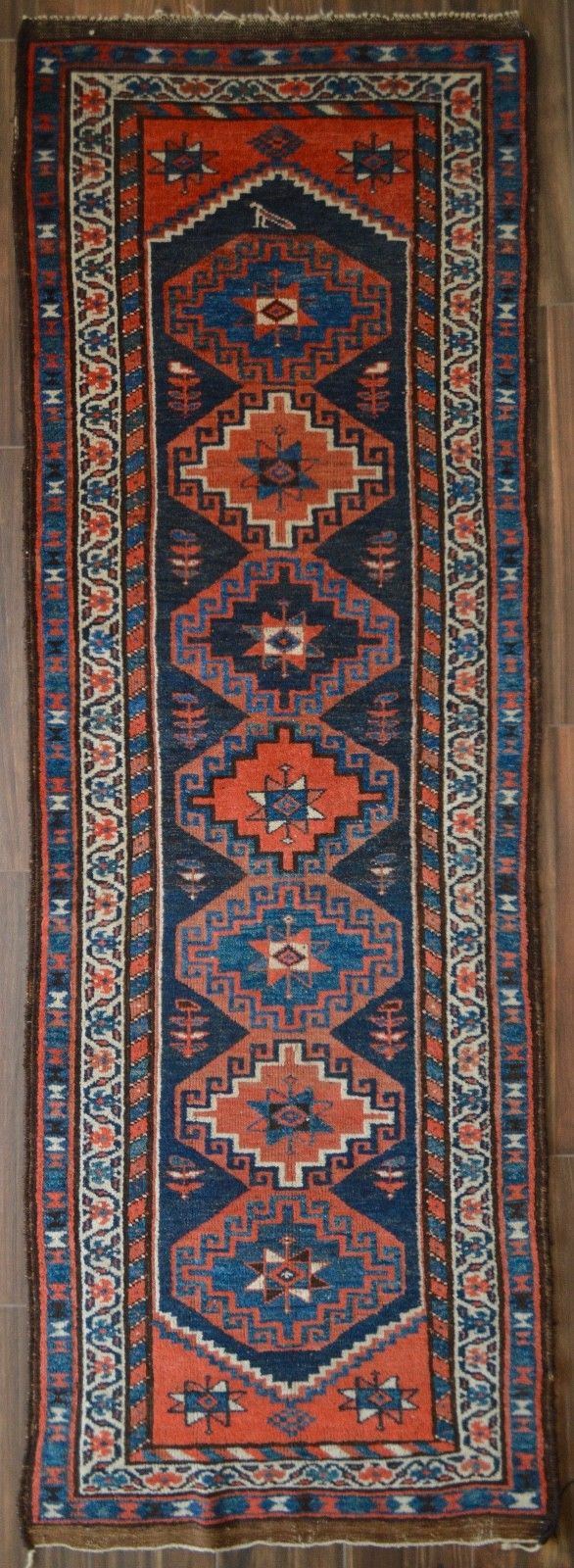 Semi-Antique Kurdish Runner Rug - 3'6
