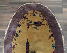 "Load image into Gallery viewer, Antique Chinese Deco Oval Rug - 2'11"" x 5'2"" - Heriz & Merchant Rugs"