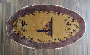 "Antique Chinese Deco Oval Rug - 2'11"" x 5'2"" - Heriz & Merchant Rugs"