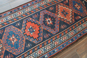 "Semi-Antique Kurdish Runner Rug - 3'6"" x 10'1"" - Heriz & Merchant Rugs"