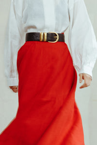 ADORE: Flared Linen Skirt With Linen Camber Belt