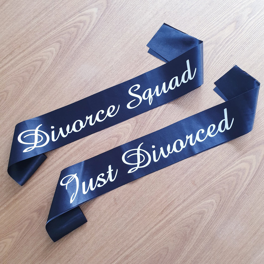 Divorce Squad Black Satin Sash - Just Divorced