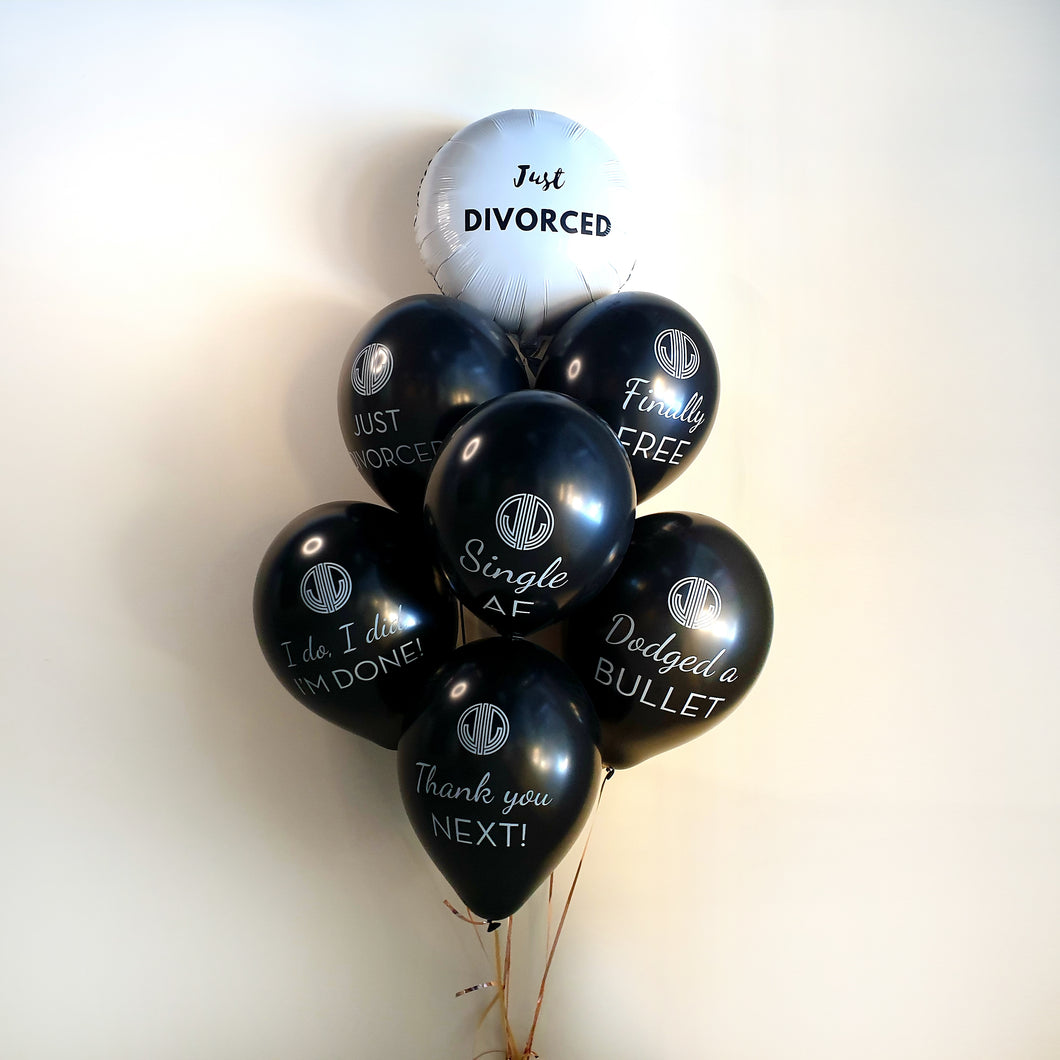 Black Just Divorced Quote Balloon Bouquet 7 Piece - Just Divorced