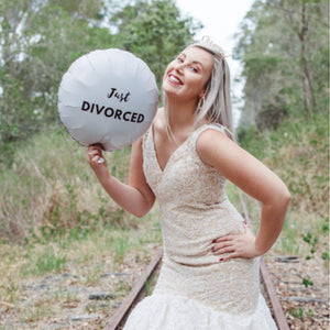"Round White with Black Foil Balloon ""Just Divorced"" - Just Divorced"
