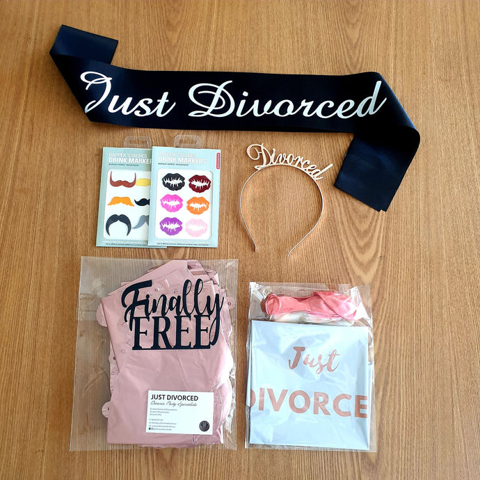 Just Divorced Divorce Party Pack ROSE GOLD -  FREE POSTAGE - Just Divorced