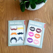 Load image into Gallery viewer, Set of 12 Silicone Glass Markers - LUSCIOUS LIPS & MACHO MOUSTACHES - Just Divorced