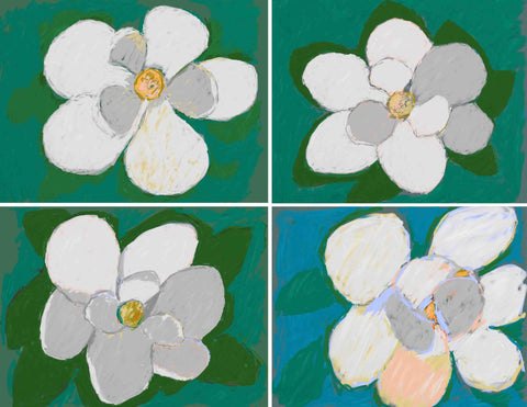 MAGNOLIA FLOWER QUADRIPTYCH--Four Marigold Flower Prints
