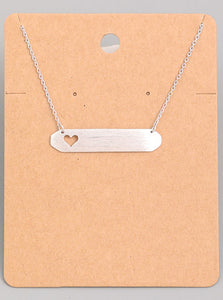 Heart Cutout Bar Necklace