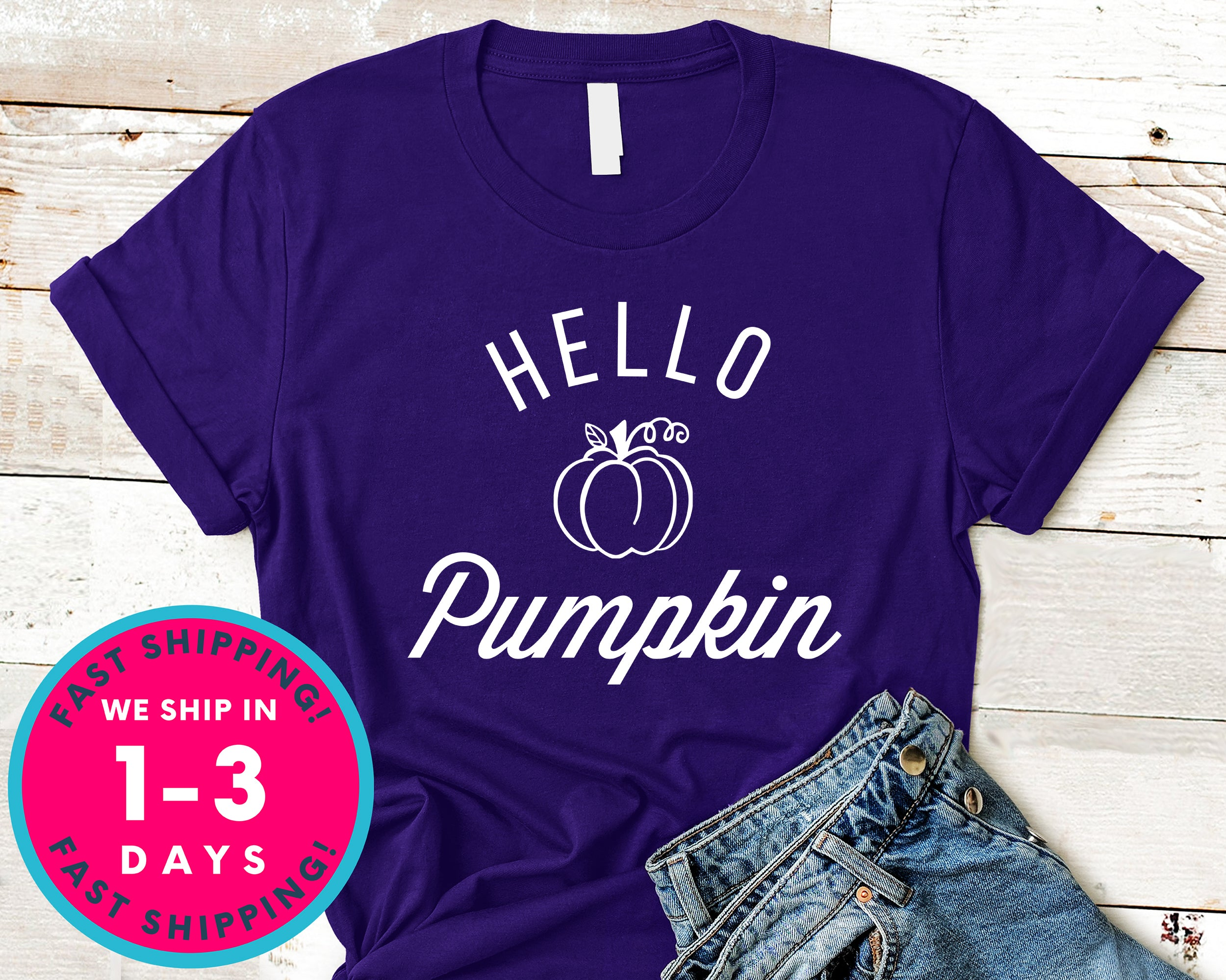 Hello Pumpkin T-Shirt - Autmn Fall Thanksgiving Shirt