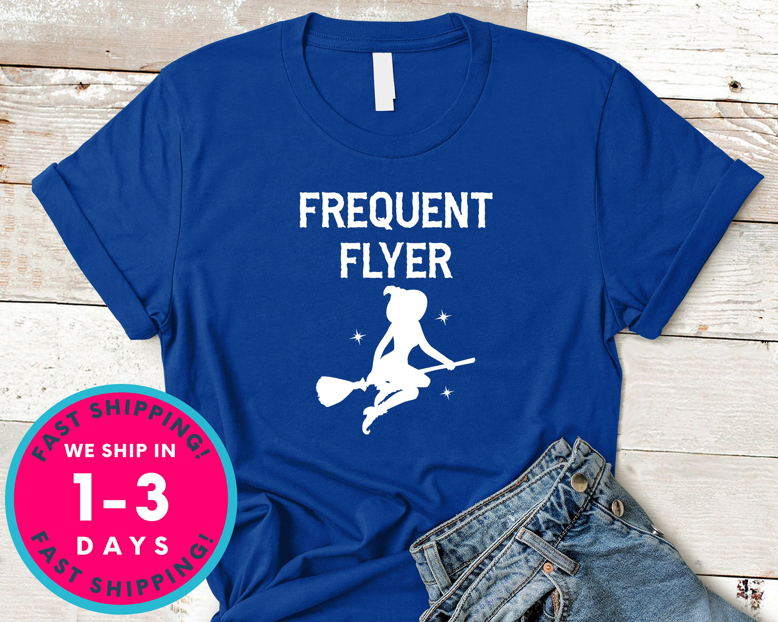 Frequent Flyer Witch Broom T-Shirt - Halloween Horror Scary Shirt