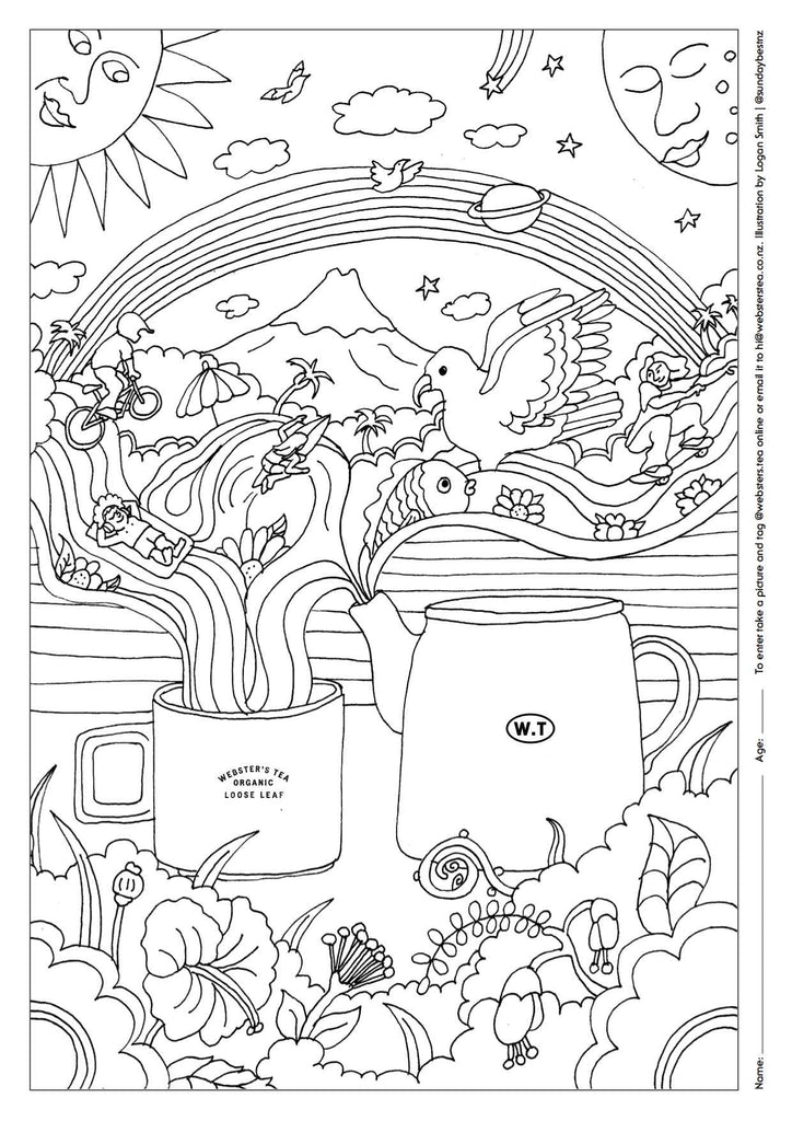 Webster's Tea Colouring In Image