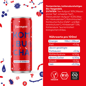 "Fairment Kombucha ""Hibiskus-Himbeer"" in der 330ml Dose - bio, vegan, raw"
