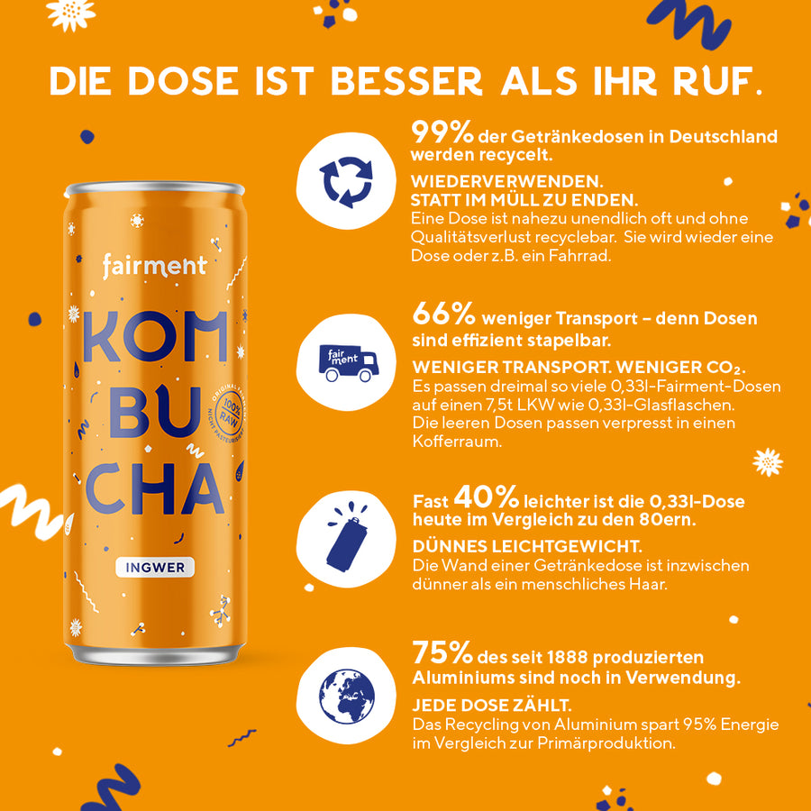"Fairment Kombucha ""Ingwer"" in der 330ml Dose - bio, vegan, raw"
