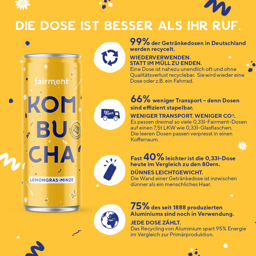 "Fairment Kombucha ""Lemongras-Minze"" in der 330ml Dose - bio, vegan, raw"