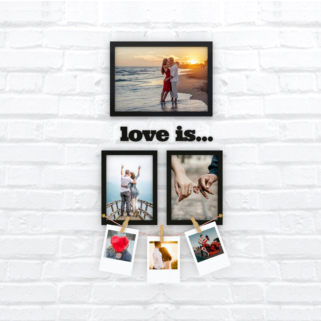 Love Is+Clips Photo Wall, Size 2x1 Feet