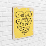 All You Need Is Love Yellow Wooden Board Left View