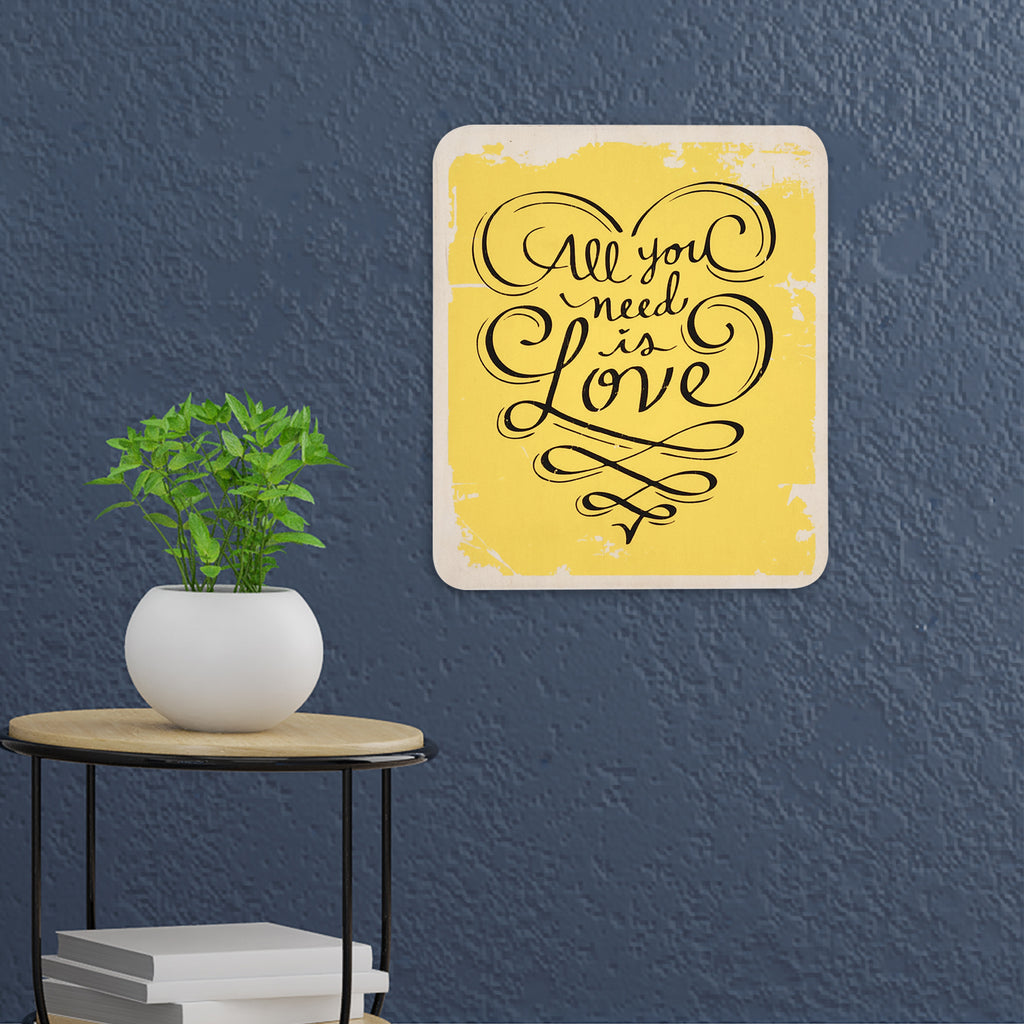 All You Need Is Love Yellow Wooden Board Mock