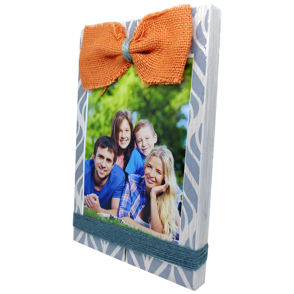 Photo Desk Board With Orange Coloured Jute Bow Right