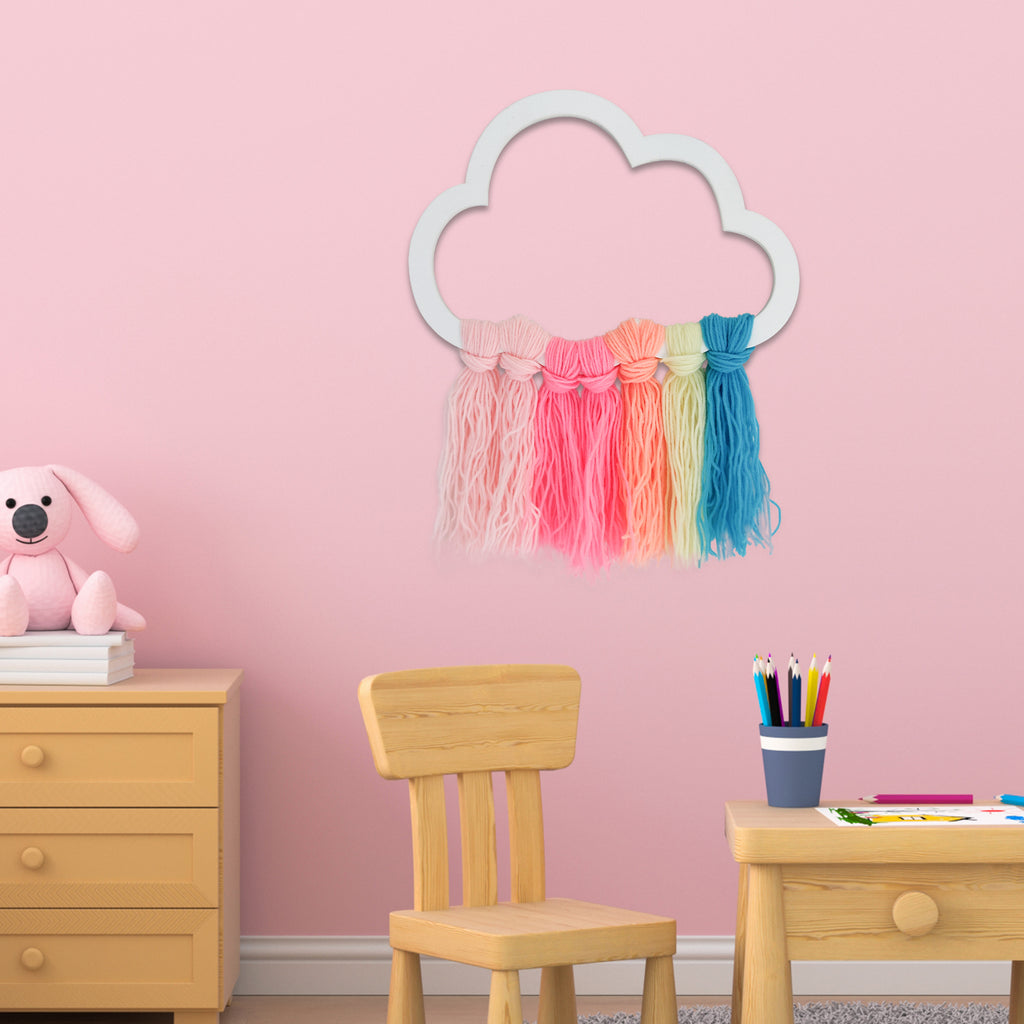 Rainbow Cloud Wooden Accent Mock