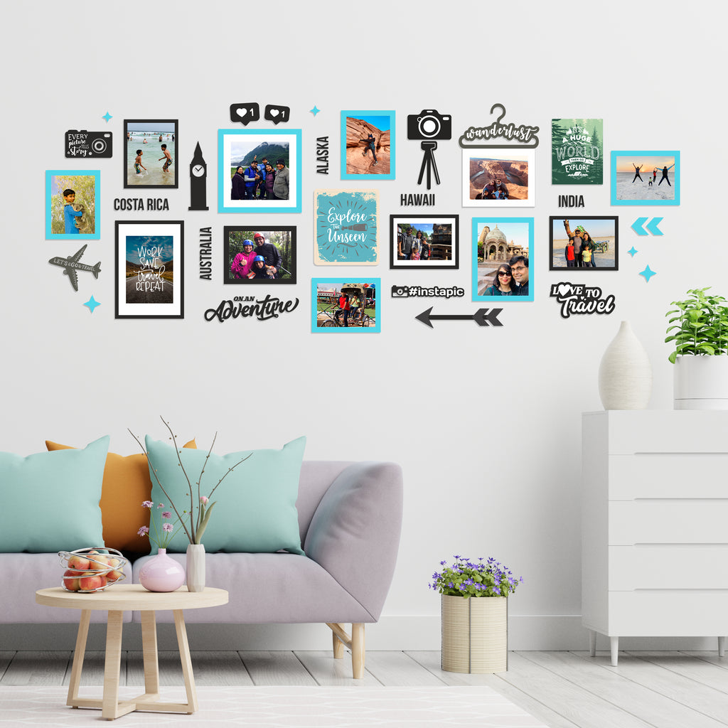 Classy Travel Photo Wall, Size 7x3 Feet