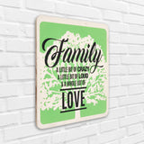 Family & A Whole Lot Of Love Wooden Board Left View