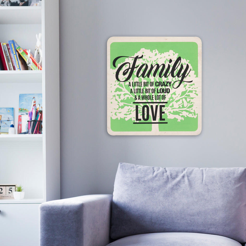 Family & A Whole Lot Of Love Wooden Board Mock
