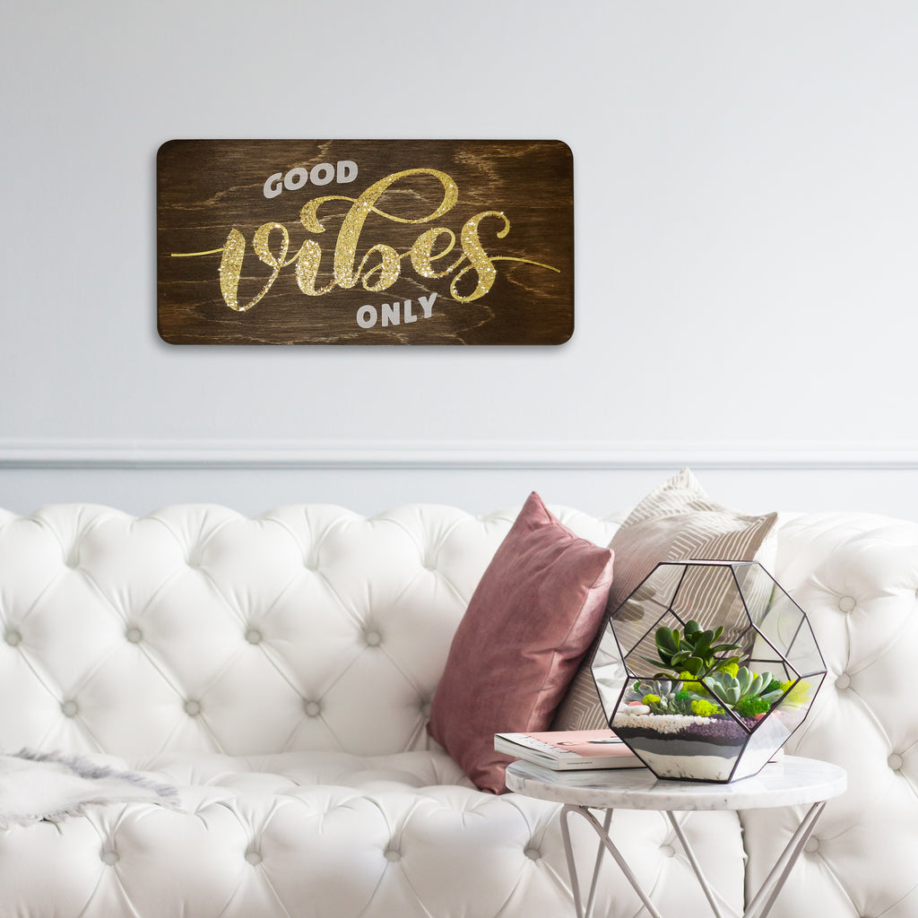 Good Vibes Only Wooden Board Mock
