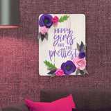 Happy Girls Are The Prettiest Floral Pinewood Board Mock