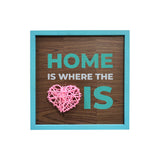 Home Is Where The Heart Is 3D Heart Framed Wooden Board Front View