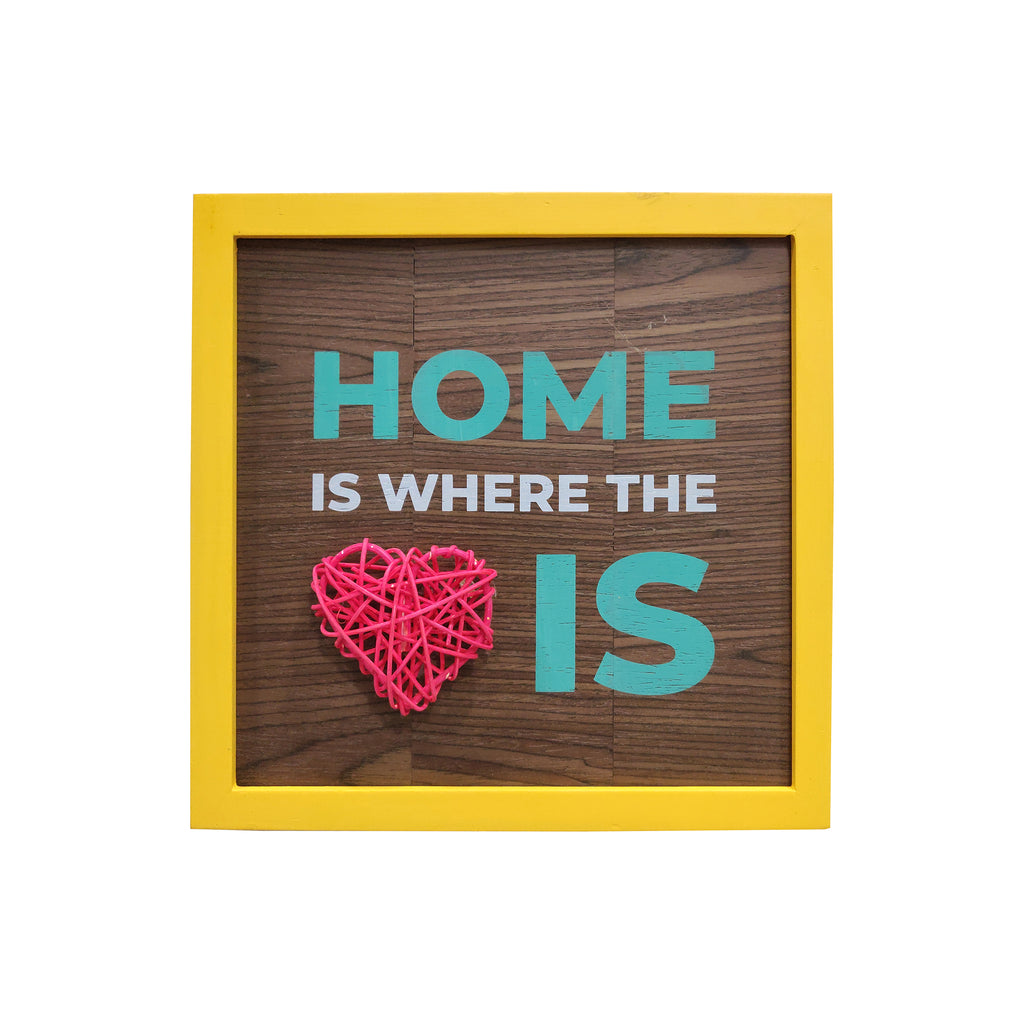 Home Is Where The Heart Is 3D Heart Framed Wooden Board, Size 10.5x10.5 Inches