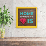 Home Is Where The Heart Is 3D Heart Framed Wooden Board Mock