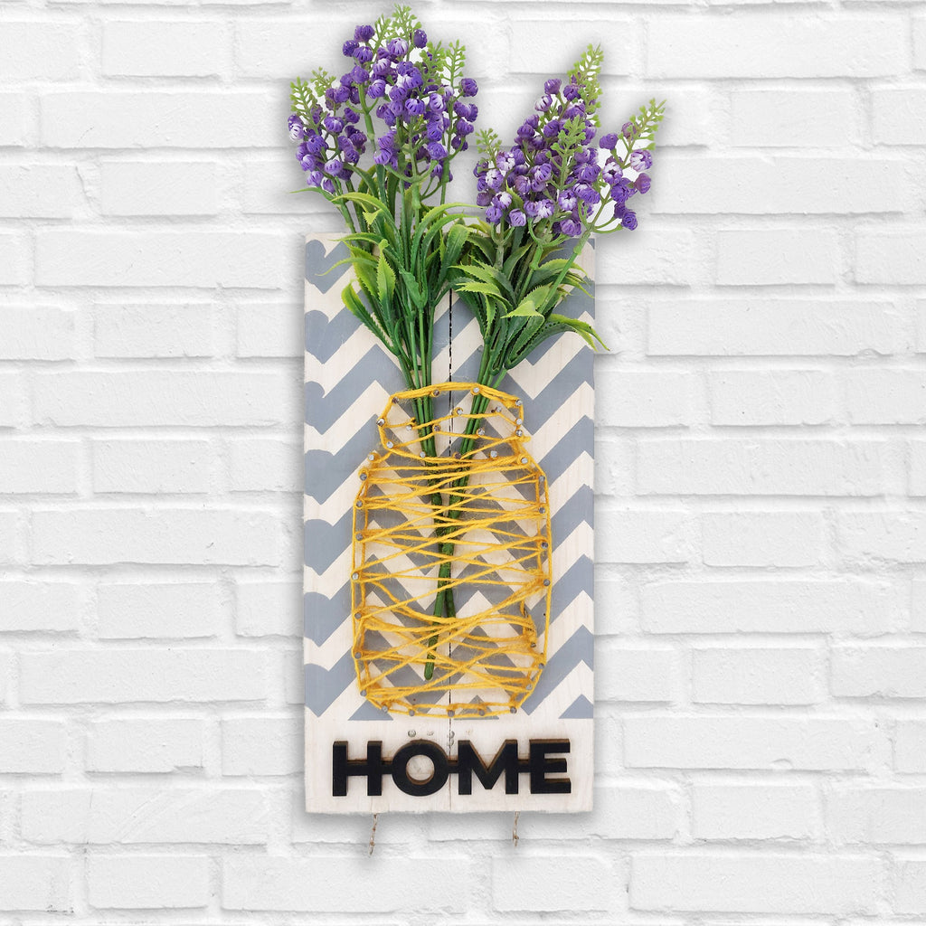 Home Key Holder Floral Wooden Board Front View