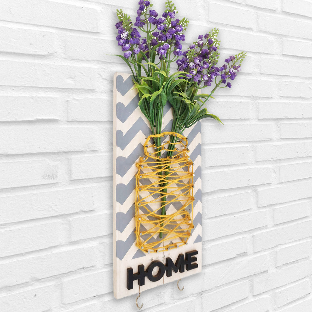 Home Key Holder Floral Wooden Board Left View