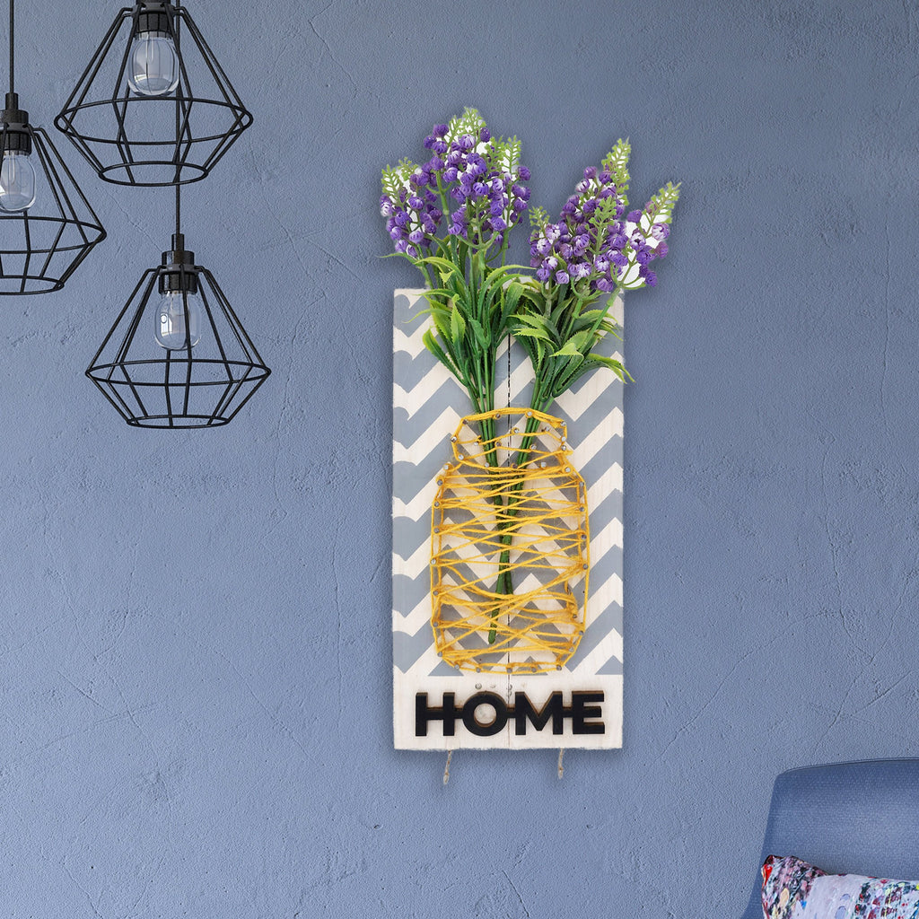 Home Key Holder Floral Wooden Board Mock