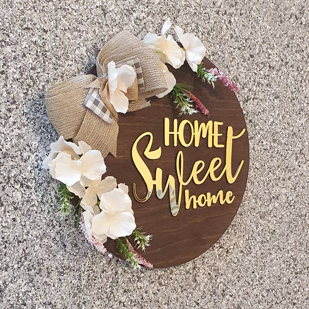 Home Sweet Home Floral Wooden Board, Size 11.5x11.5 Inches