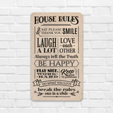 House Rules Wooden Board Front View